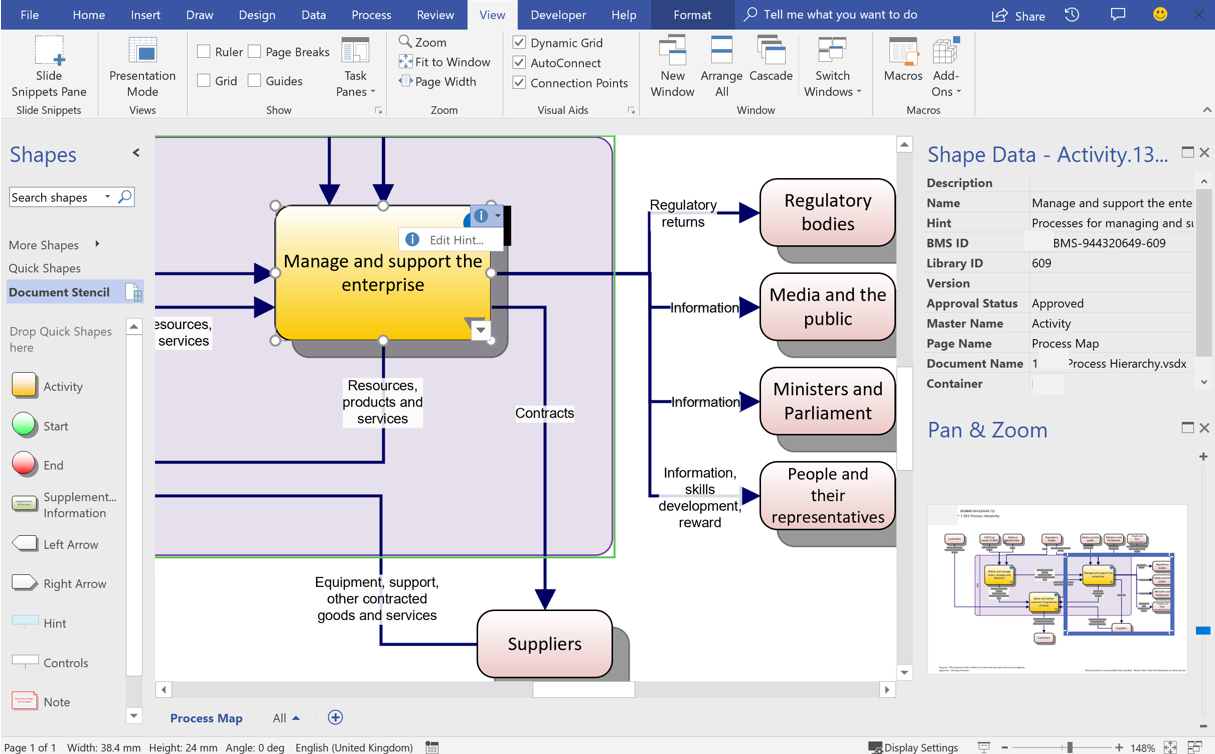 An example of BMS diagram in Visio showing the top level process diagram