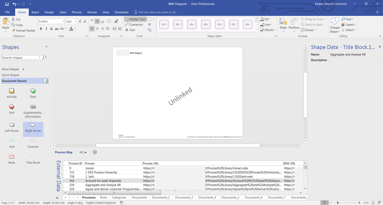 The custom Business Management System Visio template